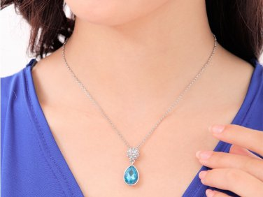 WHITE GOLD PLATED BLUE DROP CZECH CRYSTAL SET