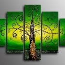 No Frame!! Green Golden Abstract Tree Landscape Wall Home Decor Oil Painting on Canvas