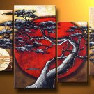 No Frame!! Beautiful 4 Piece Set Abstract Huga Asian Landscape Pine Tree Sun Oil painting