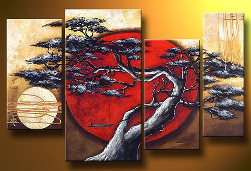 Framed!! Beautiful 4 Piece Set Abstract Huga Asian Landscape Pine Tree Sun Oil painting