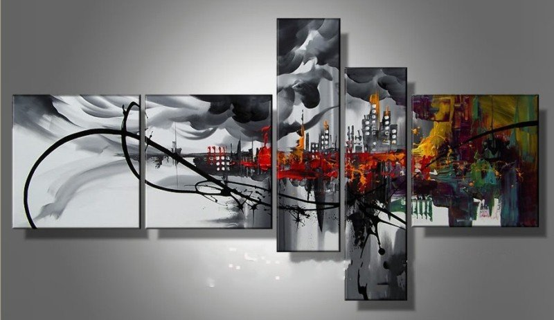 Framed!! Hand Painted 5 Panels Abstract Oil Painting on Canvas