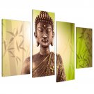 Stretched 4 pannel Wall Art Religion Sakyamuni Buddha Oil Painting On Canvas Framed Ready to Hang