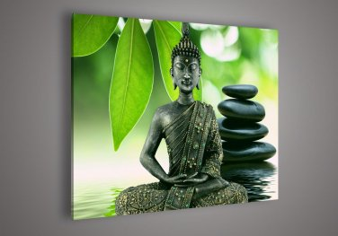 Framed Ready to hang andmade Wall Decoration Buddha Face Oil Painting on Canvas