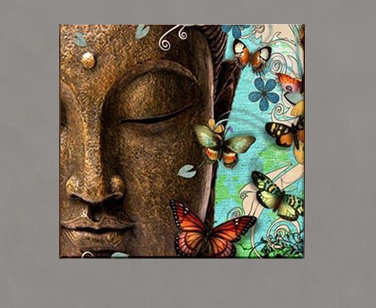 Ready to hang India Sakyamuni Buddha Plus Green Flower Religion Art On Canvas Abstract Oil Paintings