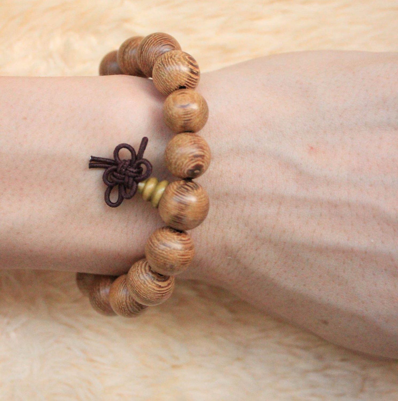 Buddha Bracelets Sandalwood 16 Buddha Bead Buddhist Lucky Stretchy Strand Bracelet