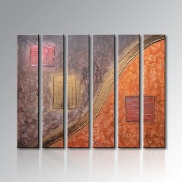 Framed handmade 6 piece modern abstract oil paintings on canvas wall art city pictures
