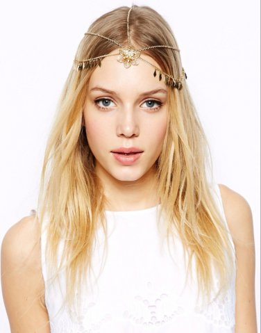 Gold Chain rhinestone Flower Dangle Drop Crown Head Hair Cuff Headband Headpiece