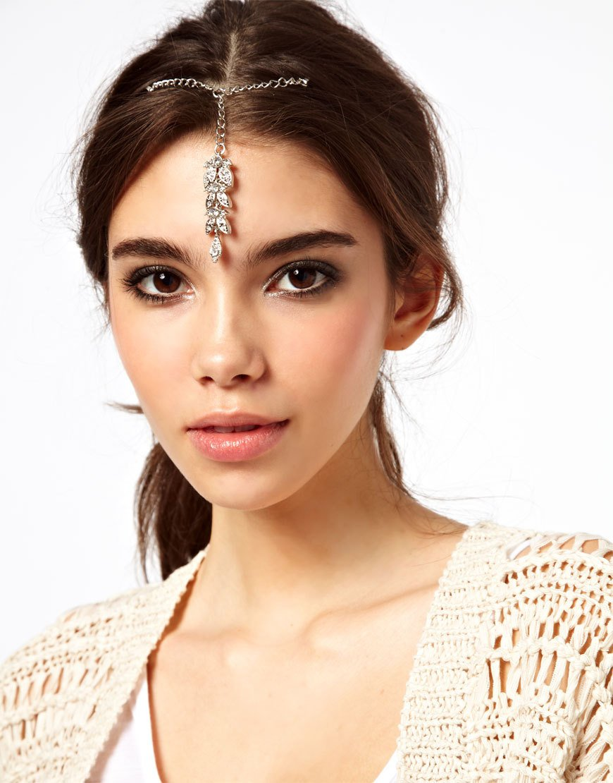 Women Fashion Gray Chain Jewelry Headband Synthetic emerald Hair Accessories