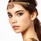 Women Fashion Golden Red Rhinestone Head Chain Headband Head Piece Hair band