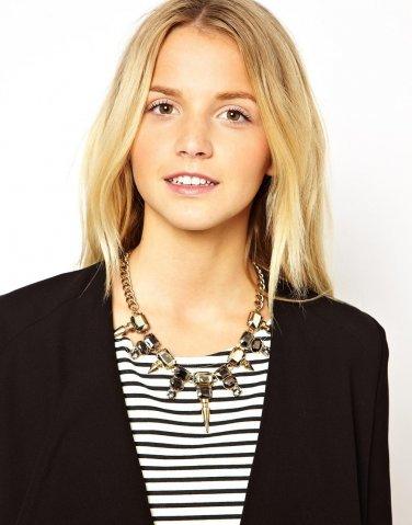 Hot Selling Fashion Mixed Style Chain Crystal Black Bib Big Statement Necklace