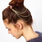 Women Fashion Color Rhinestone Pink Chain Jewelry Headband Head Red Hair band