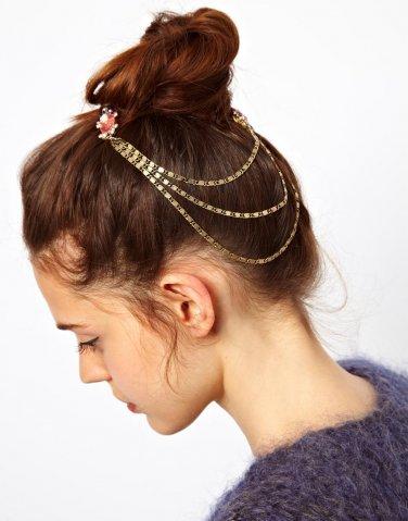 Women Fashion Color Rhinestone Pink Chain Jewelry Headband Head Red Hair band