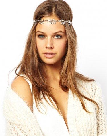 Women Fashion Alloy Gray Leaves Headband Hair Band Hair Accessories