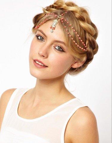 Women Metal Rhinestone Head Chain Jewelry Headband Hair Accessories Orange Bead