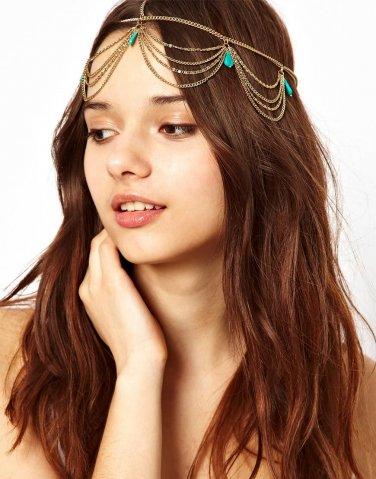 Women Fashion Color Rhinestone Green Chain Jewelry Headband Synthetic emerald