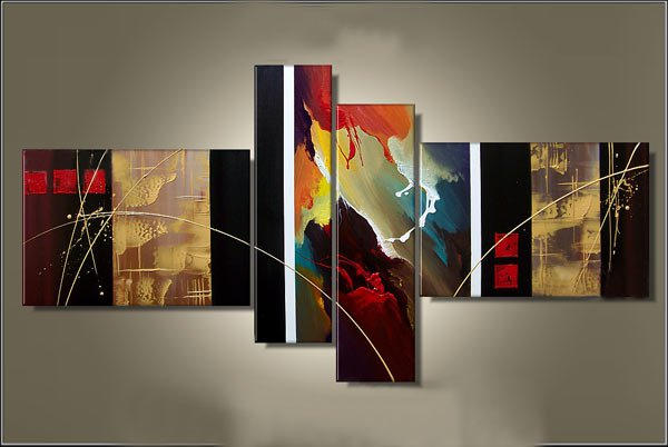Framed!!handpainted 4 piece modern abstract oil paintings on canvas wall art pictures(small size)
