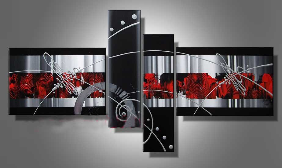 Stretched!! Framed Hand Painted 4 piece green black white abstract oil paintings on canvas