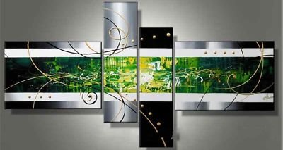 Stretched!!hand-painted Color wall gold brick abstract oil painting on canvas mixorde wood Framed