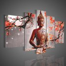 UnStretched!! Large Size Wall Decor Buddha Red Flowers Oil Painting on Canvas No frrame