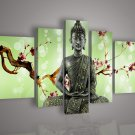 100% Handmade Buddha Green Leaf Oil Painting on Canvas for Home Decor No Frame