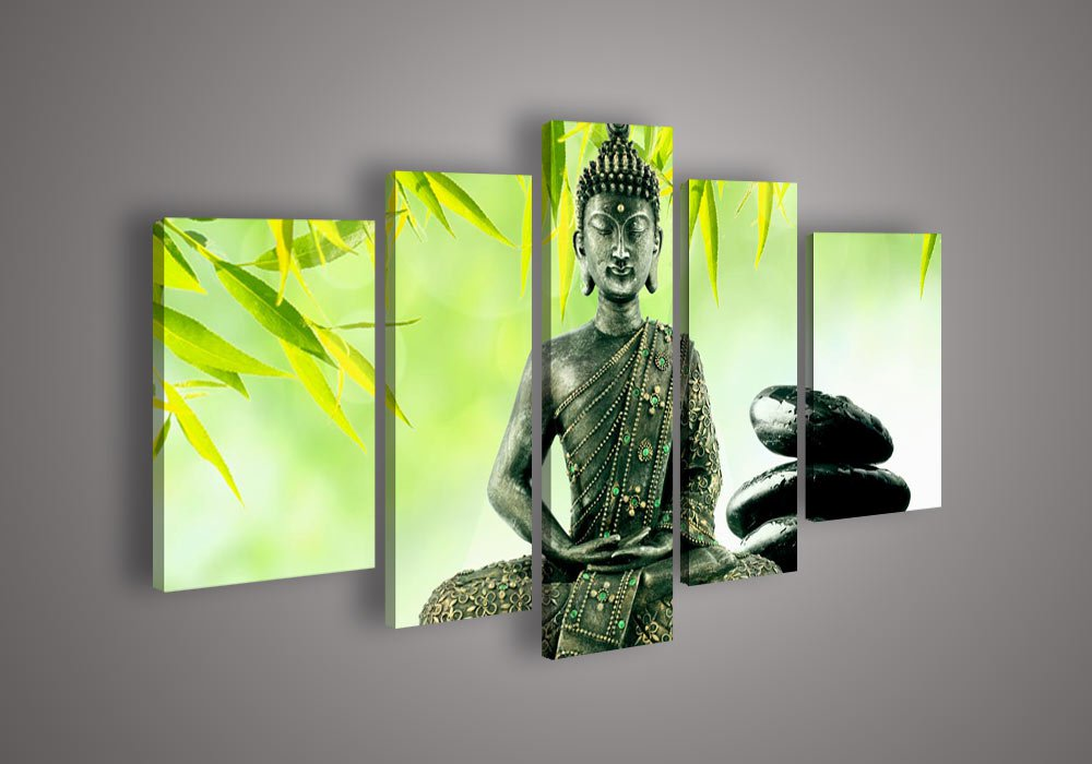 No Frame!!5 Panel Wall Art Religion Buddha Oil Painting Home Modern Decoration