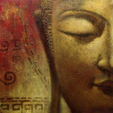 Free Shipping Handpainting Buddha Oil Painting on Canvas Wall Art No Frame