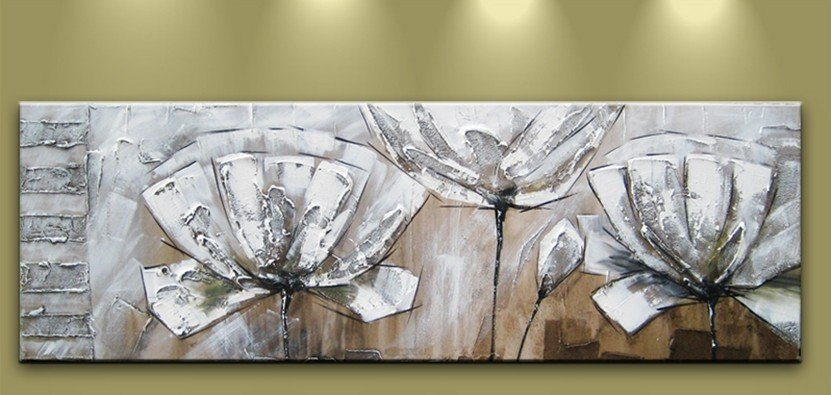Handicraft tree white flower blossom yellow silivery tulip knife Oil Painting No Frame