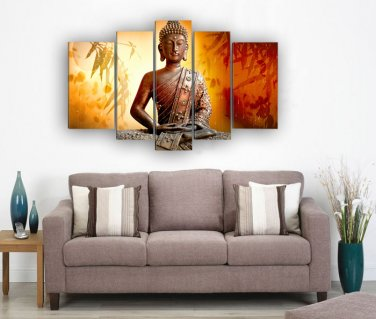 Framed  Huge Size 5 Panel Wall Art Religion Buddha Oil Painting On Canvas Knife Modern Art Paintings