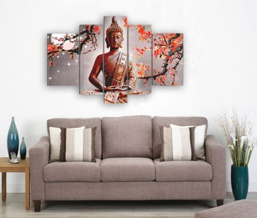 Framed Huge Size 5 Panel Wall Art Religion Buddha Oil Painting On Canvas Stretched