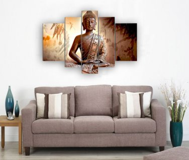 Framed Huge Size Handpainted Wall Art Religion Buddha Flower Oil Painting On Canvas Ready to Hang