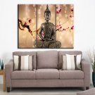 Framed Huge Size Zen Buddha Oil Painting On Canvas Red Flower For Home Modern Decor Stretched