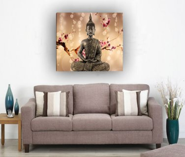 Framed single Panel Home Décor Flowers Religion Buddha Oil Painting On Canvas