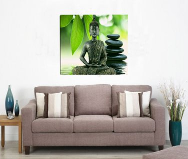 Framed Zen Religion Buddha Oil Painting On Canvas Green Flower Contemporary Decoration Stretched