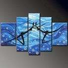 UnFramed!Huge Size Handmade Drawing Set Textured Dance Painting on Canvas Dancer 5 Piece Wall Art