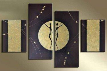Framed 4pcs/set Handmade Modern Dancing Oil Painting on Canvas