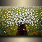 Framed!! Knife painting Flower Oil Painting on Canvas