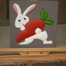 Modern 3D Leather Painting Lovely Cartoon Rabbit for Bedroom Decor Framed & Ready to Hang
