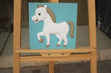 Fashion Wall Art Framed Lovely Cartoon White Horse on 3D Leather Painting for Children Bedroom Decor
