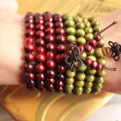 Traditional Original Red And Green Wood Mala Beads Sandalwood Buddha Beads