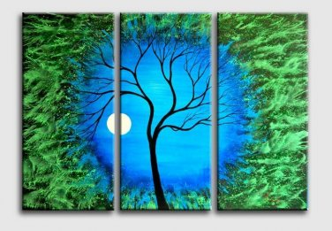 No Frame!Modern Wall Painting scene Blue green tree oil painting Home Decorative Art Picture