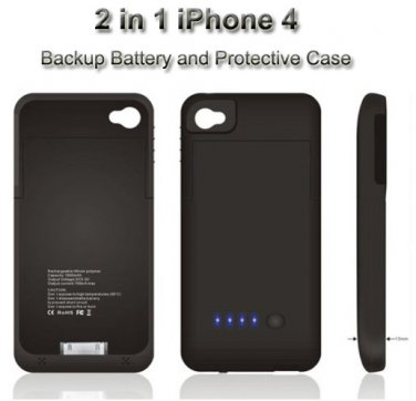 iPhone 4 External Battery Backup Juice Pack Charger Case Cover