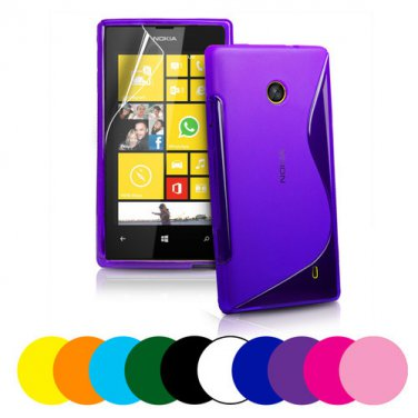 Nokia Lumia 520 S Wave Gel Case Cover + Screen Protector