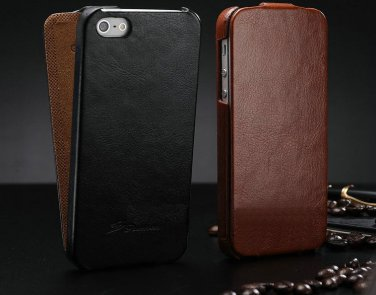 Vintage iPhone 5 5G 5S Genuine Leather Flip Phone Case Cover