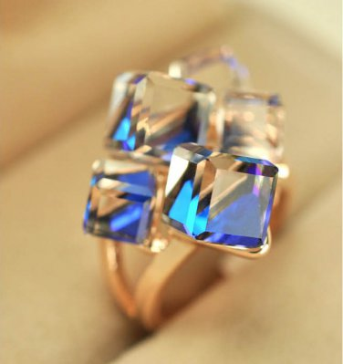 Cubic Crystal Cube 18K Gold Plated Ring Band Jewellery Rings