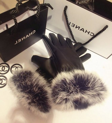 Womens Genuine Leather Rabbit Fur Winter Gloves Mittens
