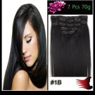100% Human Hair Extension Clip in 7Pcs Full Head Weave