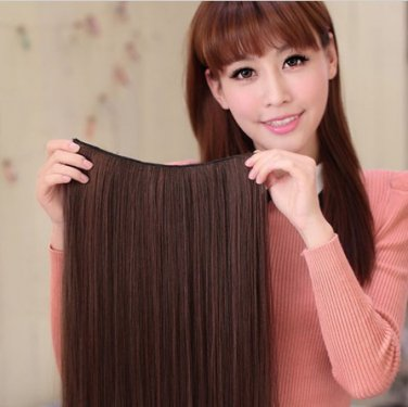 Ladies Waved Rolled Dark Brown Full Wig Hair Extension Piece Cosplay Costume