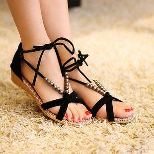 Ladies Lacey Beaded Open Toe Flats Heel Sandals Shoes Pumps