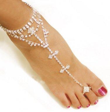 18K Gold Anklet Silver Foot Bracelet Chain Toe Ring Feet Jewelry