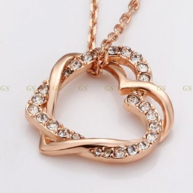 Lot 6 18k Gold Plated Double Heart Necklaces Austrian Crystals